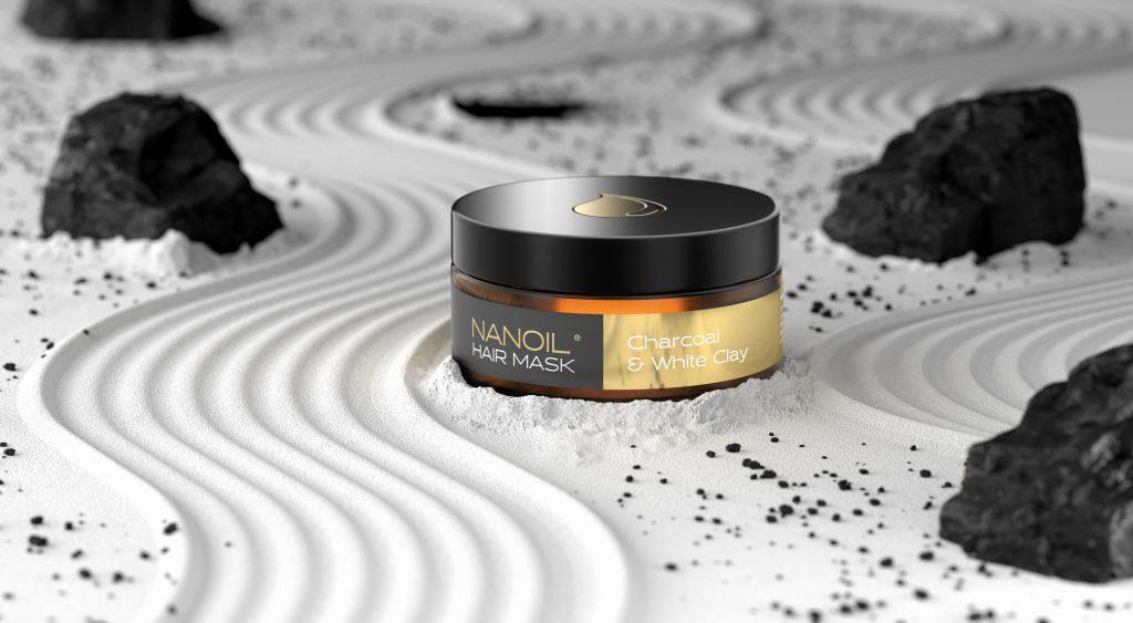 Cuidados de cabelo e couro cabeludo perfeitamente equilibrado com Máscara de Cabelo com Carvão e Argila Branca da Nanoil